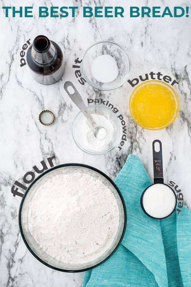 ingredients for beer bread on marble counter