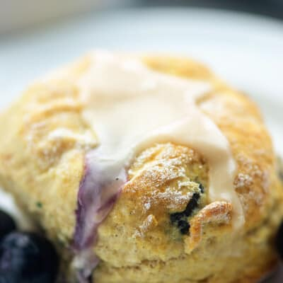 blueberry biscuit on white plate