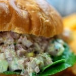 ham salad recipe on croissant with lettuce
