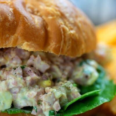 ham salad recipe on croissant with lettuce