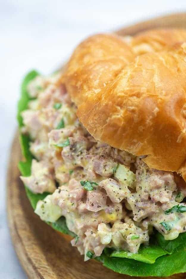 ham salad sandwich on croissant