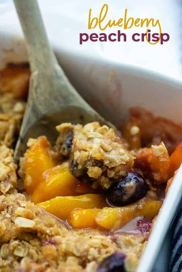 blueberry peach crisp recipe in baking dish
