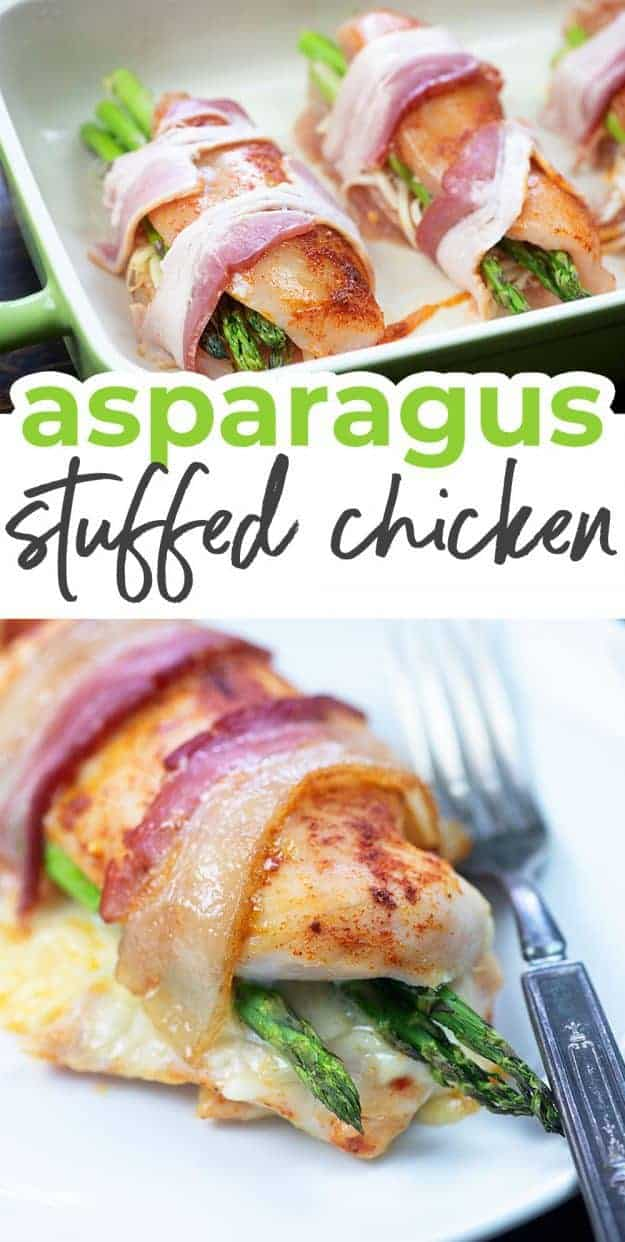 asparagus stuffed chicken photo collage