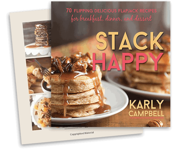 Cookbook cover of the Stack Happy cookbook for pancake recipes