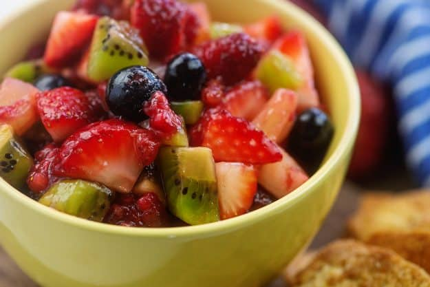 easy fruit salsa recipe with berries in yellow bowl