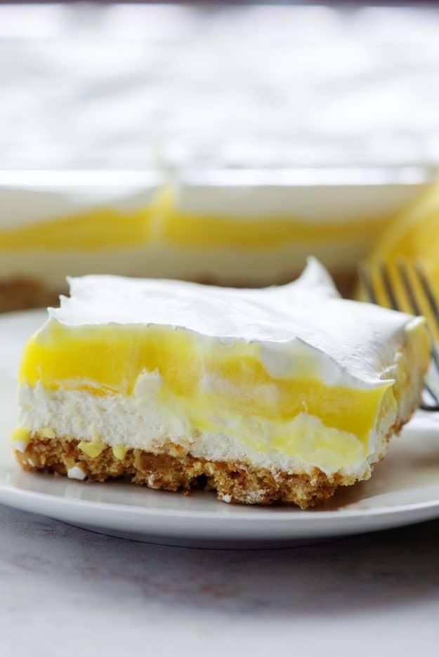 lemon lush recipe on white plate