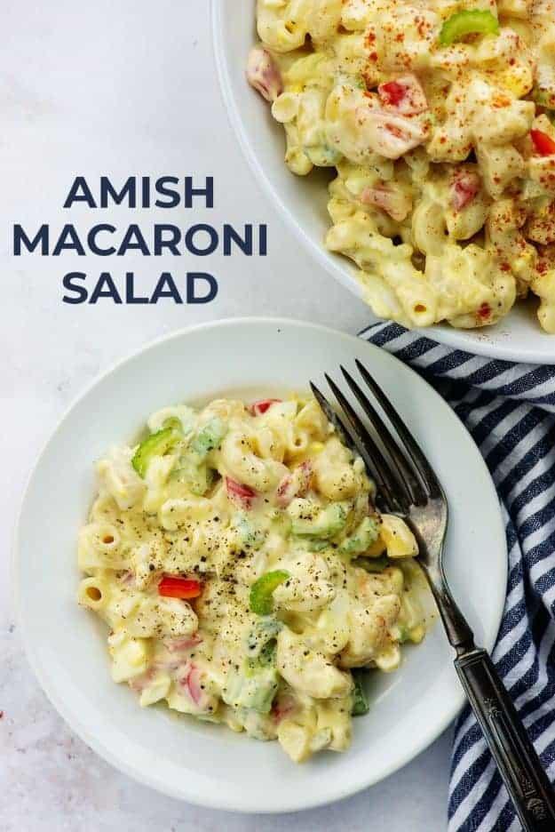 sweet macaroni salad recipe on white plate