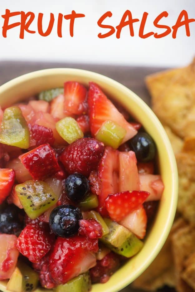 chopped fruit in yellow bowl with chips