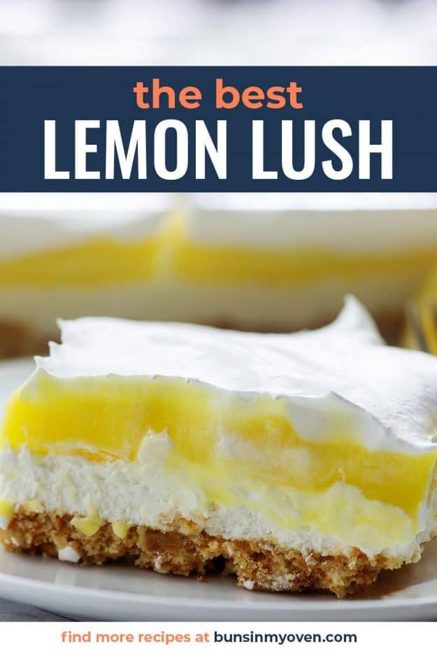 lemon lush in glass pan
