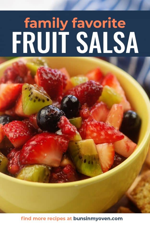 fruit salsa recipe in yellow bowl