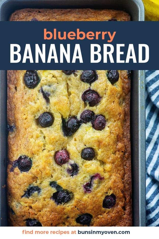 blueberry banana bread in loaf pan