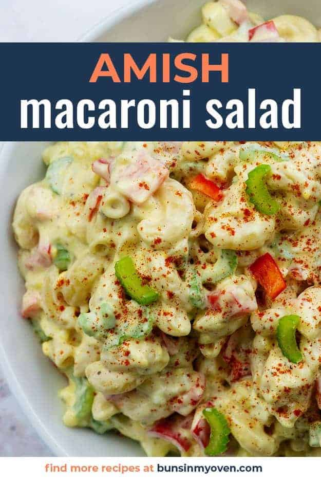 amish macaroni salad in white bowl