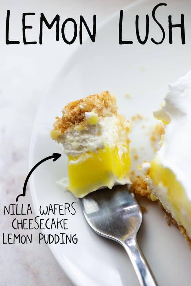 lemon lasagna on fork on white plate