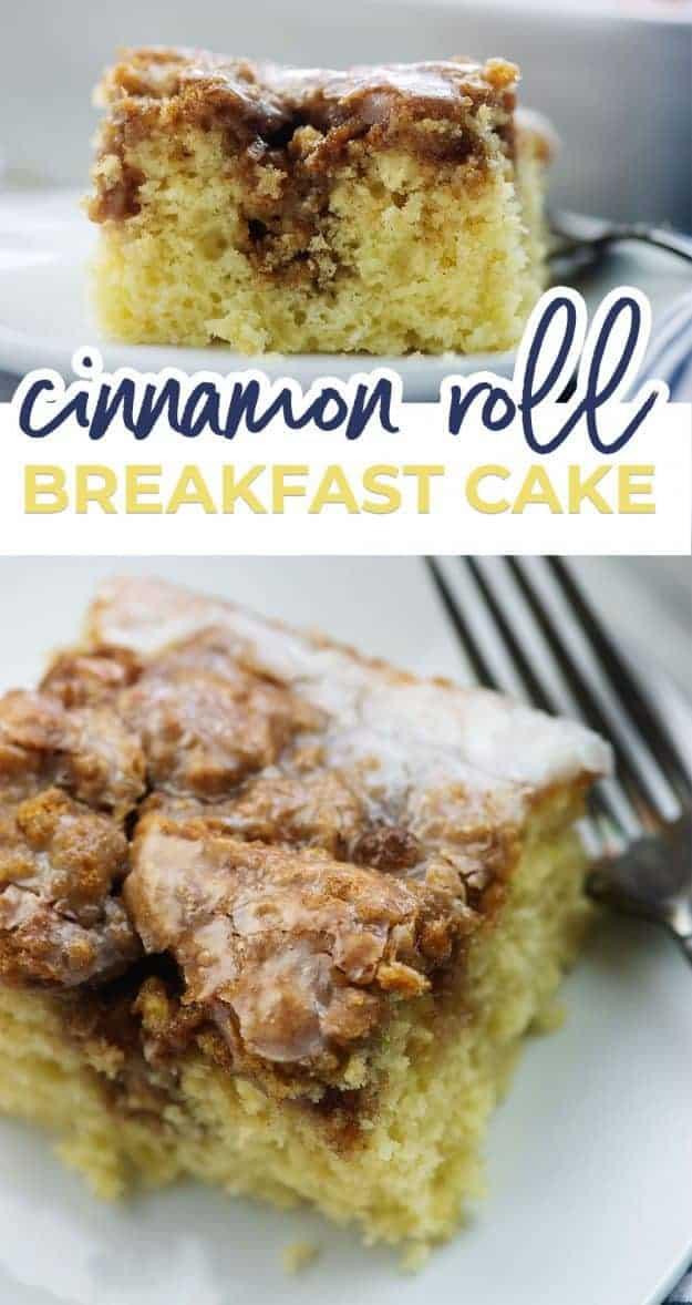 cinnamon roll cake recipe photo collage
