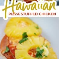 pizza stuffed chicken photo collage