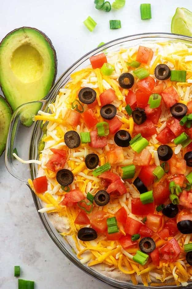 7 layer bean dip in glass pie plate