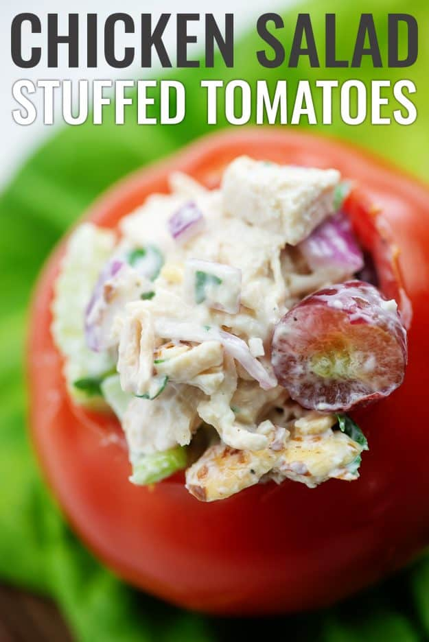 chicken salad stuffed tomato on bed of lettuce