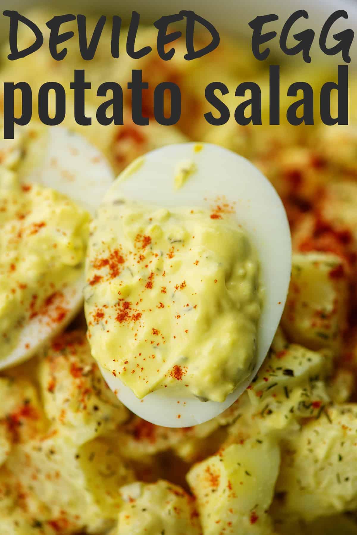 deviled egg in bowl of potato salad