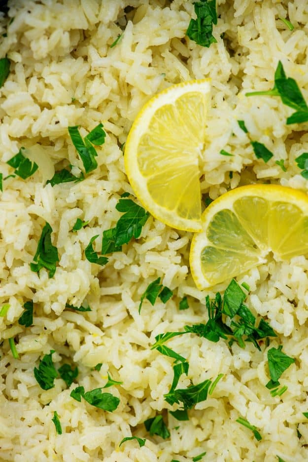 cooked rice with lemon and parsley