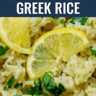 greek rice with lemon slices and parsley
