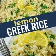 photo collage of lemon rice