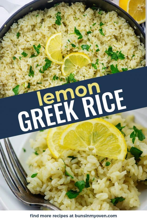 photo collage of lemon rice