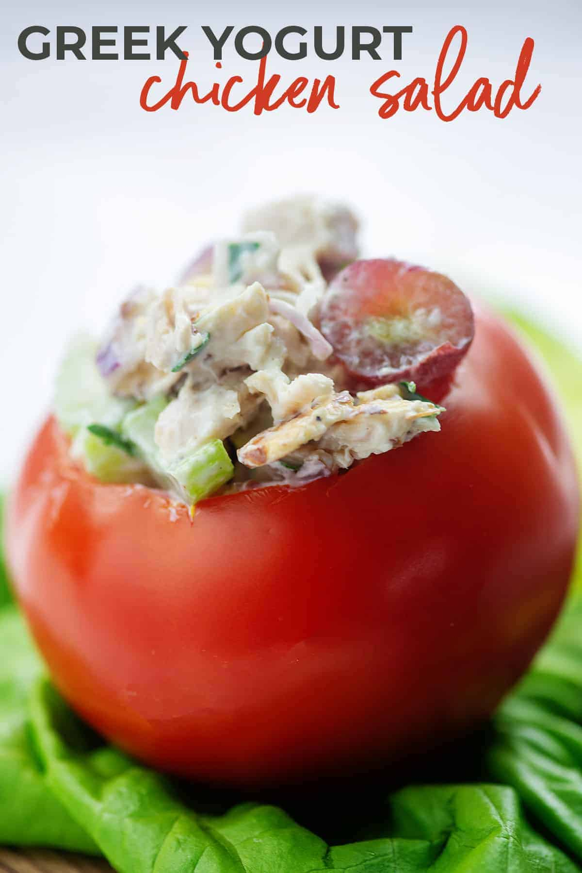 greek yogurt chicken salad stuffed in a tomato