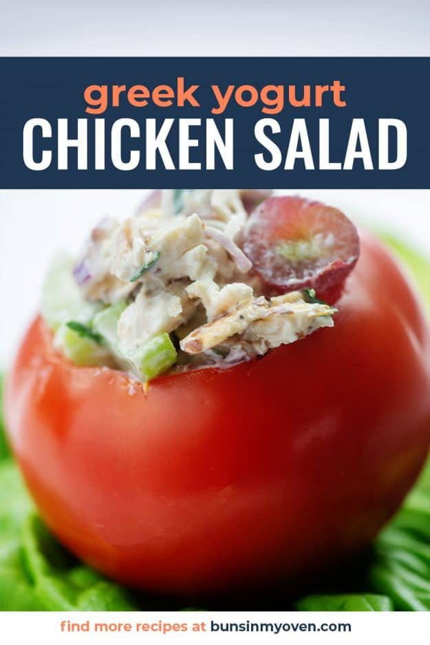 Greek yogurt chicken salad recipe in tomato