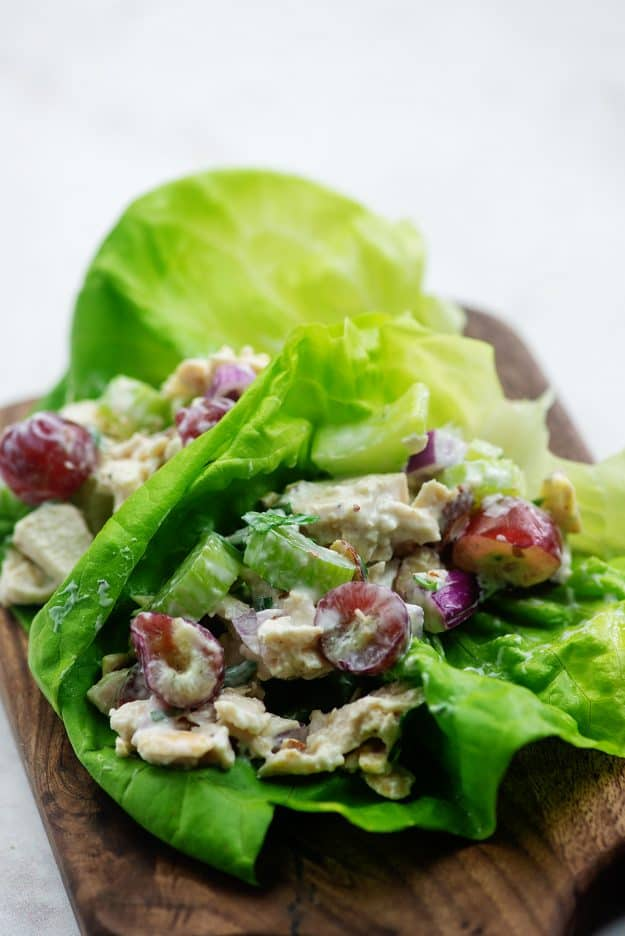 Greek yogurt chicken salad in lettuce wraps