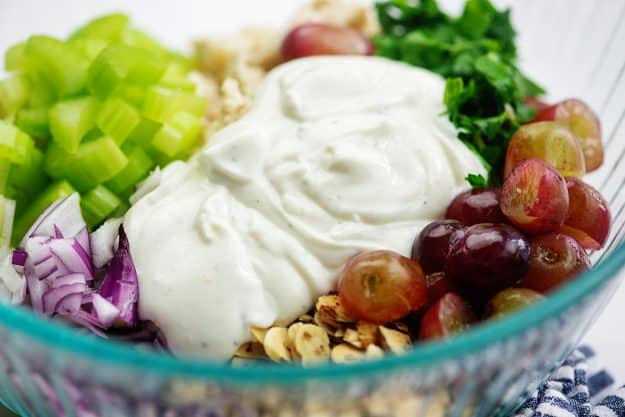 chicken salad recipe with greek yogurt dressing in glass bowl