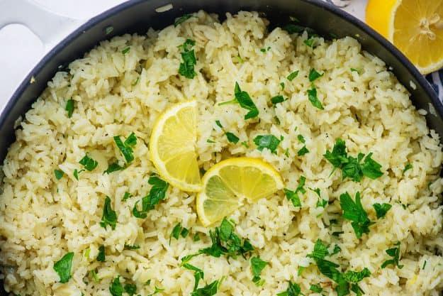 rice pilaf in black dish.