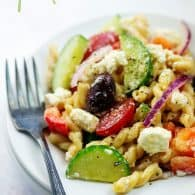 pasta salad on plate with fork