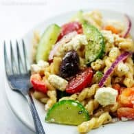 plateful of pasta salad
