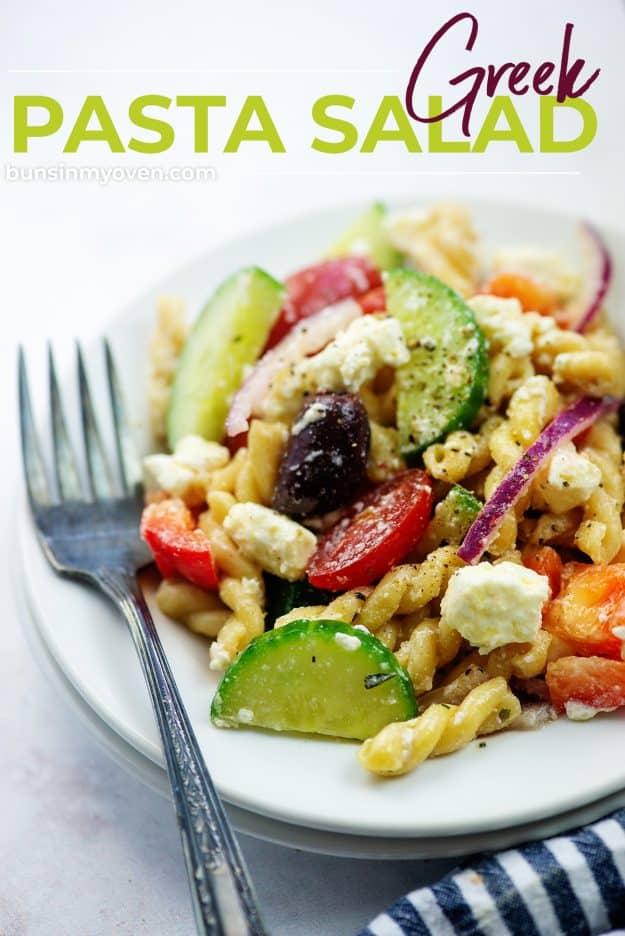 plateful of pasta salad