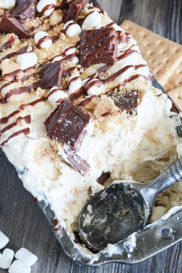 creamy no churn ice cream with graham crackers, chocolate, and marshmallows