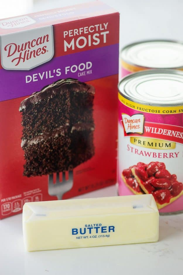ingredients for chocolate strawberry dump cake