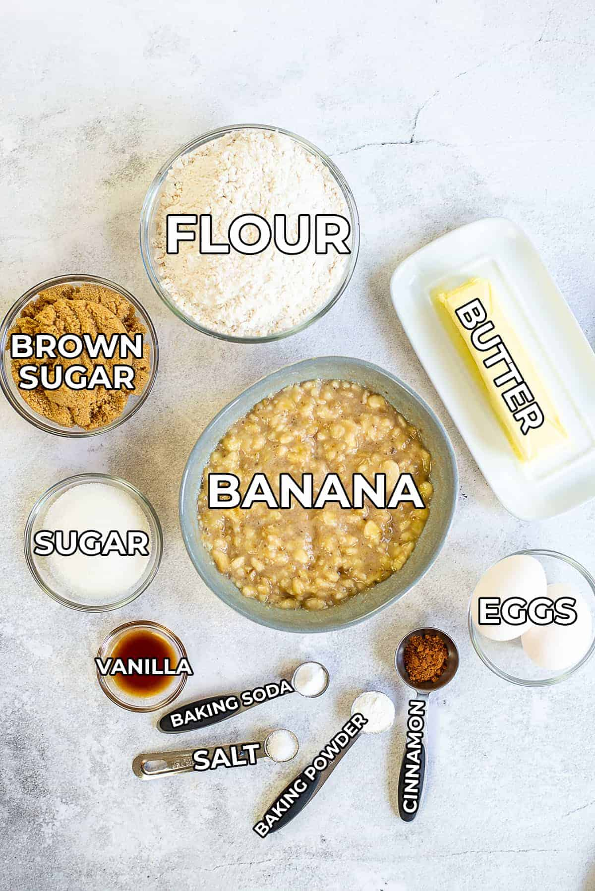 classic banana bread ingredients with labels.