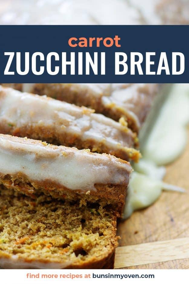 zucchini bread with cream cheese glaze on wooden cutting board