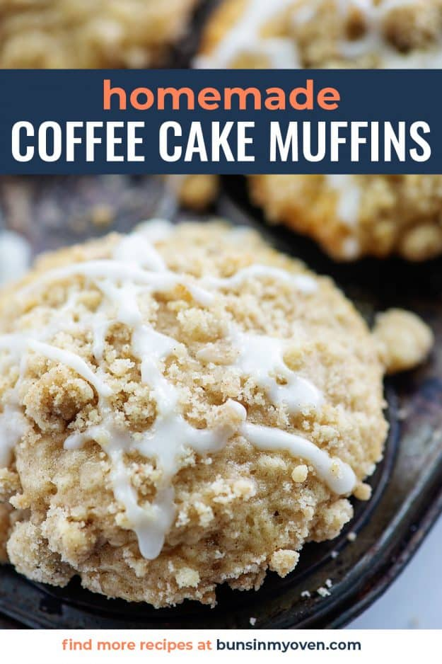 homemade coffee cake muffins with streusel and glaze on top