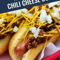 chili dogs in red basket