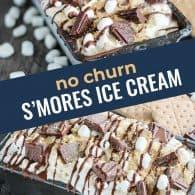 photo collage of s'mores ice cream