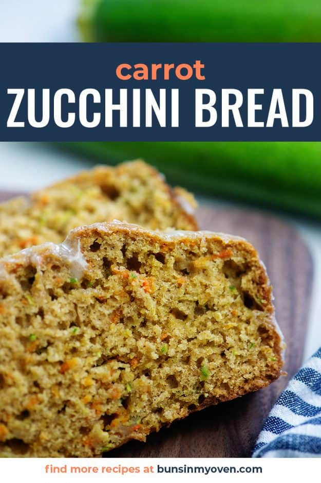 slice of zucchini carrot bread on wooden cutting board