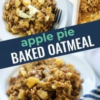 baked oatmeal recipe photo collage for pinterest