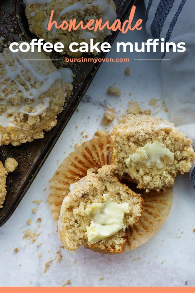 sliced muffins with butter
