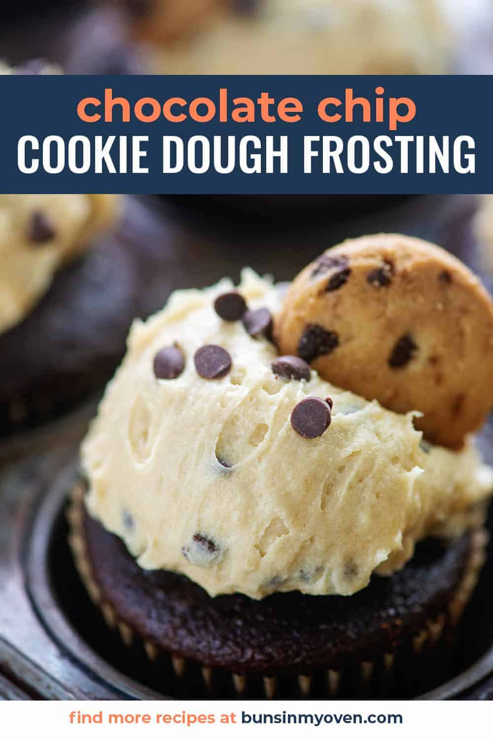 chocolate chip cookie dough frosting on chocolate cupcake
