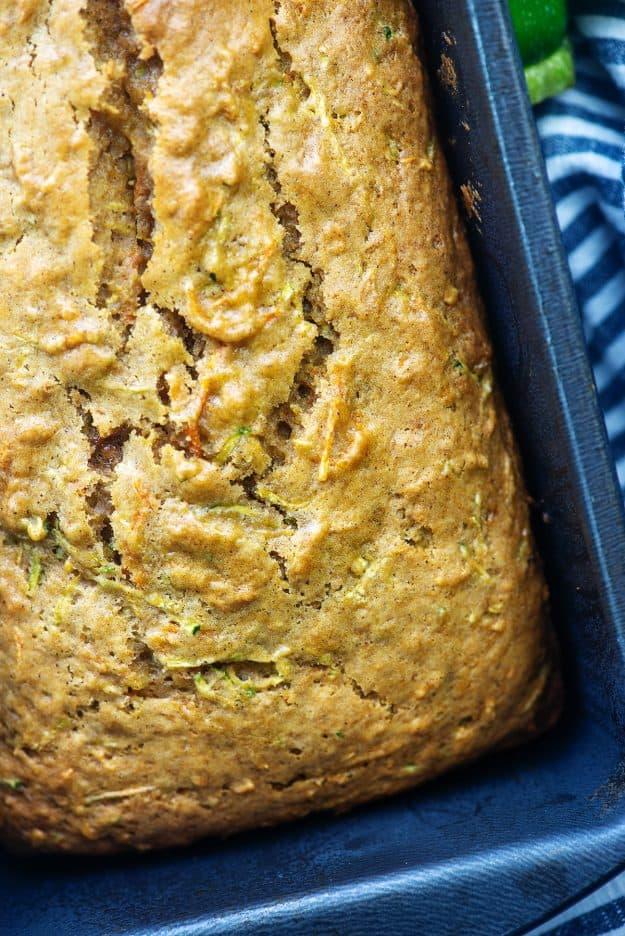 zucchini bread in metal loaf pan