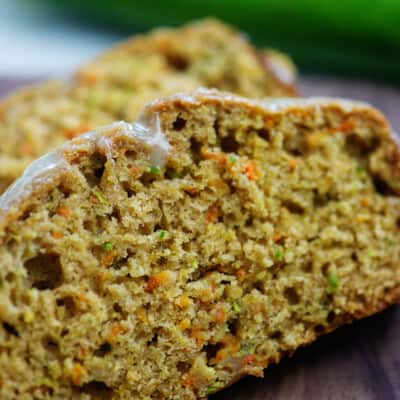 zucchini carrot bread slices on cutting board