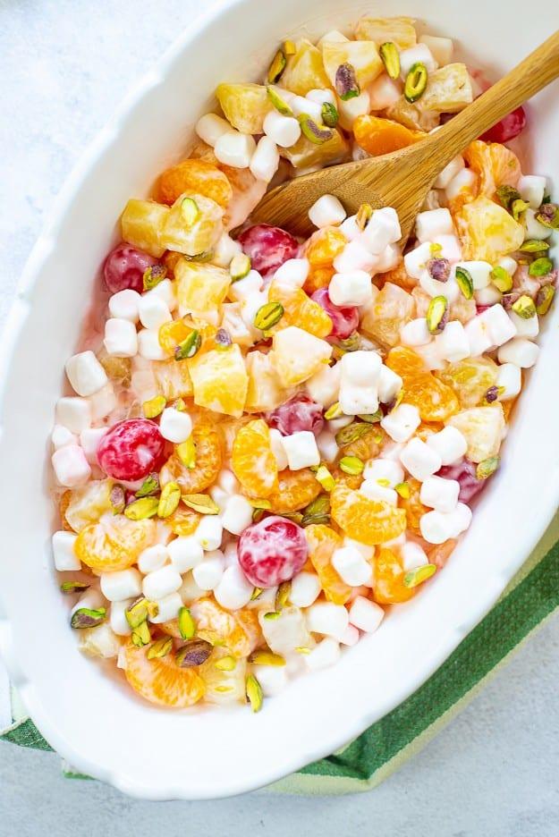 Ambrosia salad recipe in white dish.