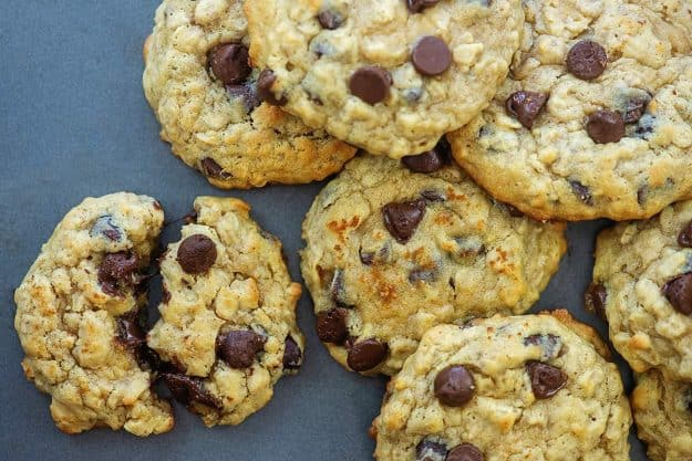 banana cookies on cookie sheet