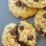 peanut butter banana cookies with chocolate chips on cookie sheet
